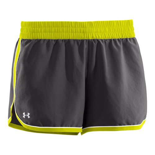 Womens Under Armour Great Escape II Lined Shorts - Charcoal/High Vis Yellow XS