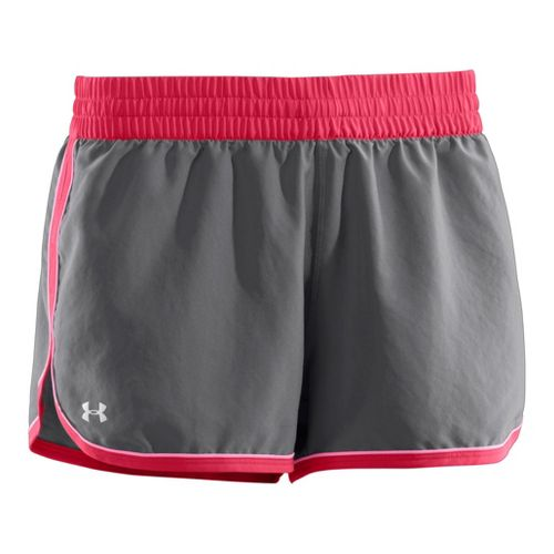 Womens Under Armour Great Escape II Lined Shorts - Graphite/Hibiscus M