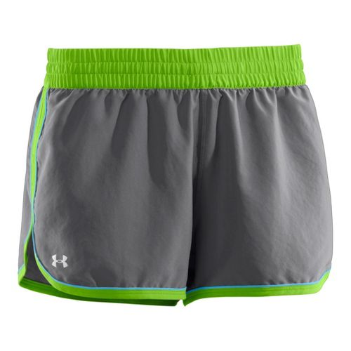 Womens Under Armour Great Escape II Lined Shorts - Graphite/Poison XL