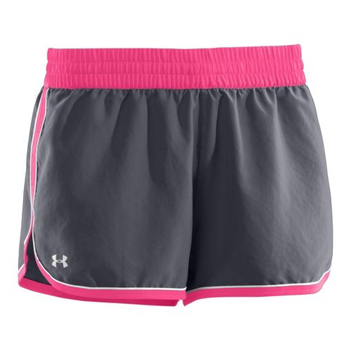 Womens Under Armour Great Escape II Lined Shorts - Lead/Cerise XS