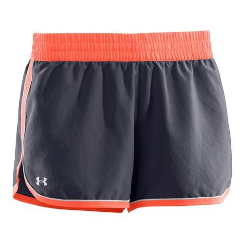 Womens Under Armour Great Escape II Lined Shorts - Lead/Electric Tangerine M