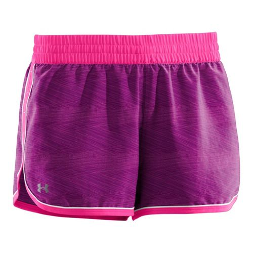 Womens Under Armour Printed Great Escape II 2-in-1 Shorts - Aubergine/Pinkadelic XL