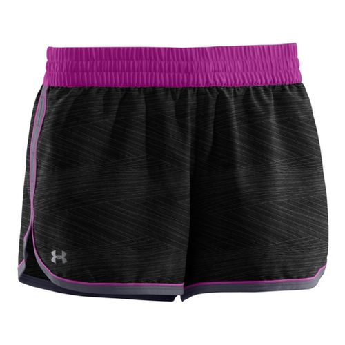 Womens Under Armour Printed Great Escape II 2-in-1 Shorts - Black/Lead XS