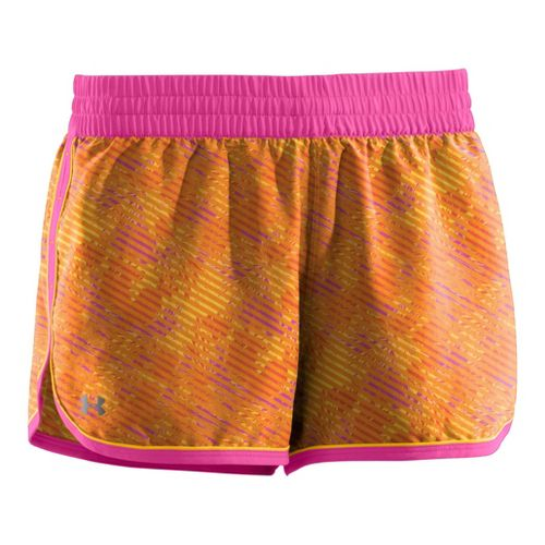 Womens Under Armour Printed Great Escape II 2-in-1 Shorts - Maize/Playful XL