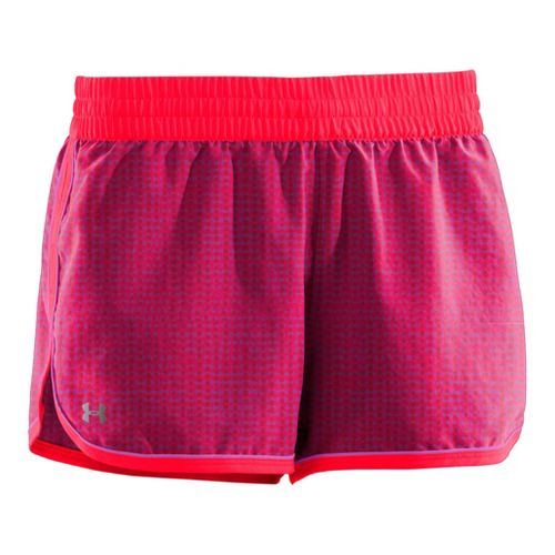 Womens Under Armour Printed Great Escape II 2-in-1 Shorts - Neo Pulse/Strobe M