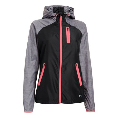 Womens Under Armour Qualifier Woven Warm-Up Hooded Jackets - Black L