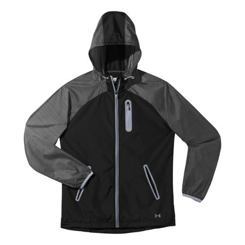 Womens Under Armour Qualifier Woven Warm-Up Hooded Jackets - Black/Steel MT