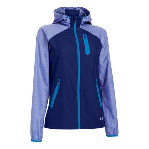 Womens Under Armour Qualifier Woven Warm-Up Hooded Jackets - Caspian L