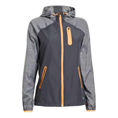 Womens Under Armour Qualifier Woven Warm-Up Hooded Jackets - Lead/Electric Tangerine XS