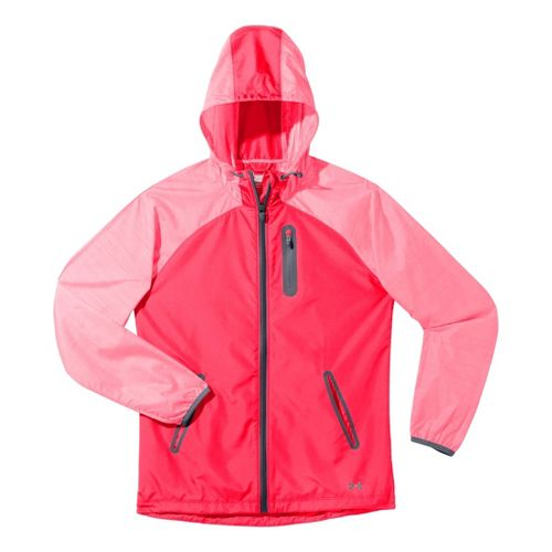 Womens Under Armour Qualifier Woven Warm-Up Hooded Jackets - Neo Pulse/Lead MT