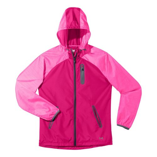 Womens Under Armour Qualifier Woven Warm-Up Hooded Jackets - Pinkadelic/Lead XS