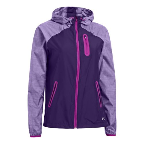 Womens Under Armour Qualifier Woven Warm-Up Hooded Jackets - Purple Rain/Strobe L