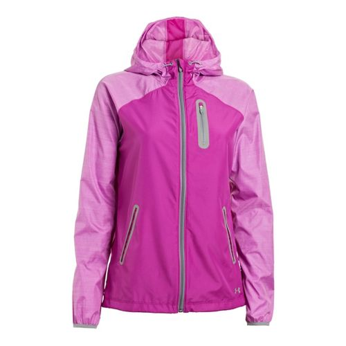 Womens Under Armour Qualifier Woven Warm-Up Hooded Jackets - Strobe/Steel L