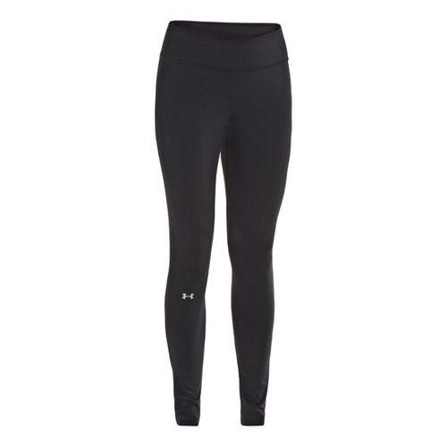 Womens Under Armour Qualifier ColdGear Fitted Tights - Black/Ceylon S