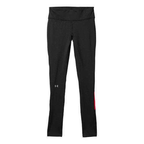 Womens Under Armour Qualifier ColdGear Fitted Tights - Black/Neo Pulse L