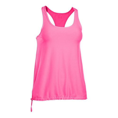 Womens Under Armour Perfect Flowy Tanks Technical Tops - Pinkadelic/Pinkadelic XL