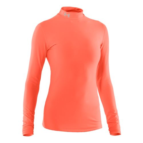 Womens Under Armour Coldgear Compression Mock Long Sleeve No Zip Technical Tops - Electric ...