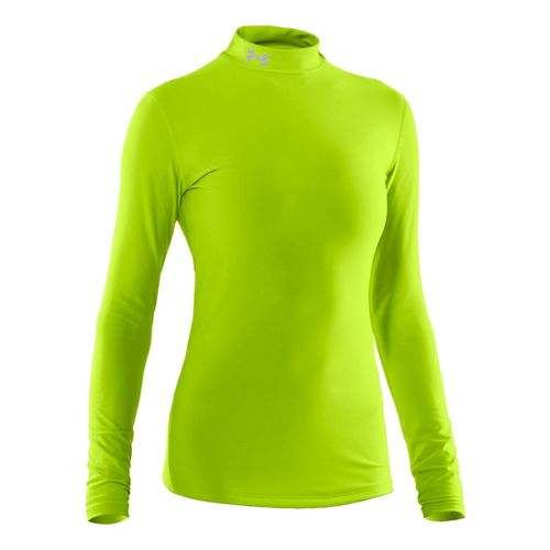 Womens Under Armour Coldgear Compression Mock Long Sleeve No Zip Technical Tops - Hyper ...