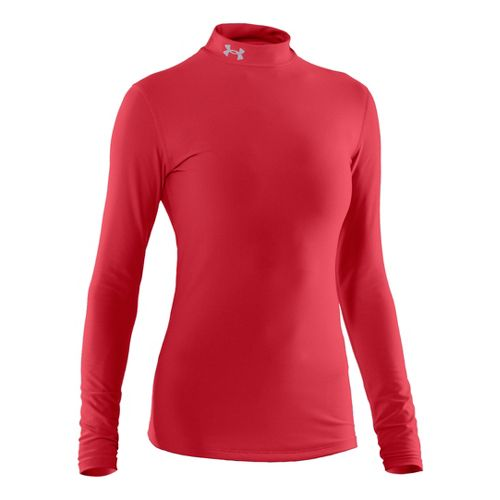 Womens Under Armour Coldgear Compression Mock Long Sleeve No Zip Technical Tops - Red/Silver ...