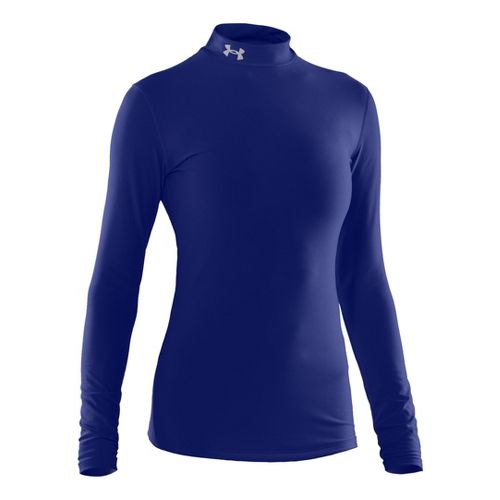 Womens Under Armour Coldgear Compression Mock Long Sleeve No Zip Technical Tops - Royal/Silver ...