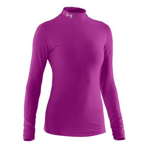 Womens Under Armour Coldgear Compression Mock Long Sleeve No Zip Technical Tops - Strobe/Silver ...
