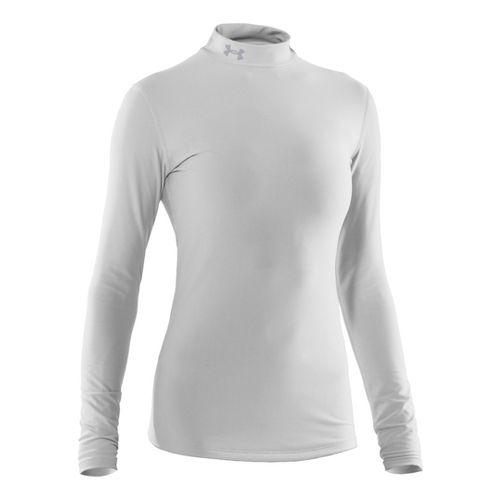 Womens Under Armour Coldgear Compression Mock Long Sleeve No Zip Technical Tops - White/Silver ...