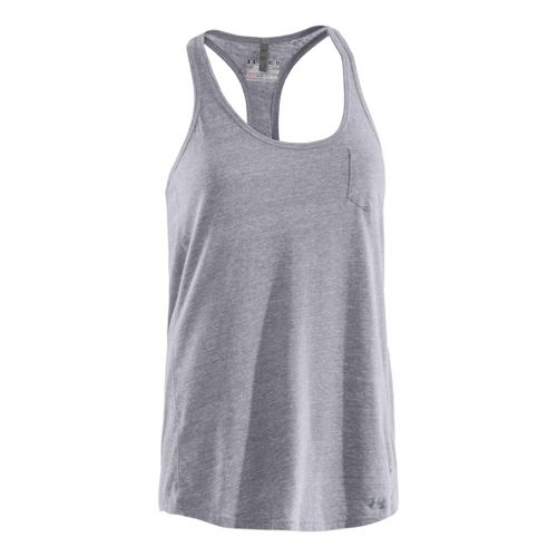 Womens Under Armour Charged Cotton Undeniable Tanks Technical Tops - Aluminum/Steel S