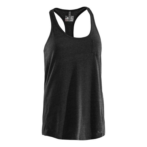 Womens Under Armour Charged Cotton Undeniable Tanks Technical Tops - Black/Charcoal L