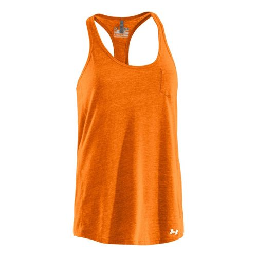 Womens Under Armour Charged Cotton Undeniable Tanks Technical Tops - Blaze Orange/White M