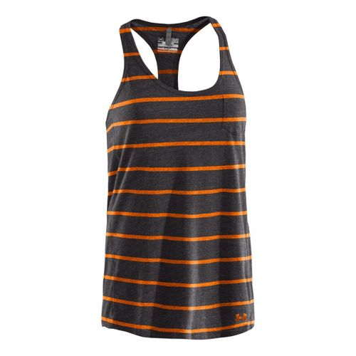 Womens Under Armour Charged Cotton Undeniable Tanks Technical Tops - Charcoal/Blaze Orange S