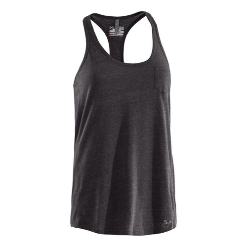 Womens Under Armour Charged Cotton Undeniable Tanks Technical Tops - Charcoal/Steel L