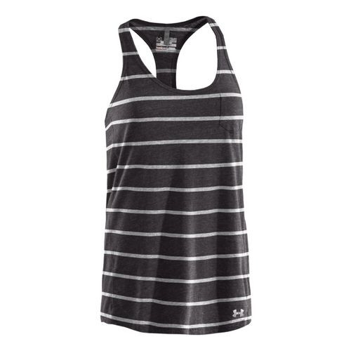 Womens Under Armour Charged Cotton Undeniable Tanks Technical Tops - Charcoal/White S