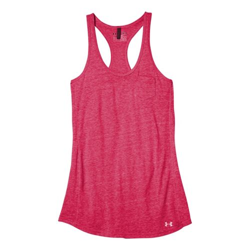 Womens Under Armour Charged Cotton Undeniable Tanks Technical Tops - Knock Out/Electric Tangerine L