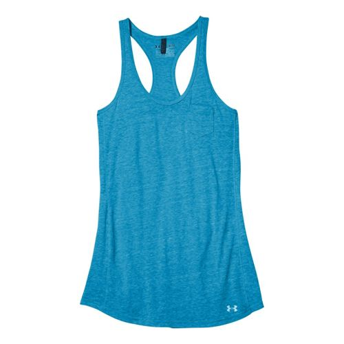 Womens Under Armour Charged Cotton Undeniable Tanks Technical Tops - Pirate Blue/Blu-Away M