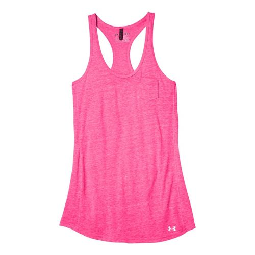 Womens Under Armour Charged Cotton Undeniable Tanks Technical Tops - Pinkadelic/Pinkadelic L