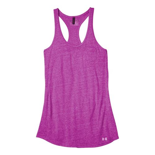Womens Under Armour Charged Cotton Undeniable Tanks Technical Tops - Strobe/Strobe M