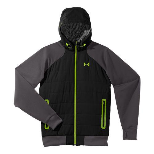 Mens Under Armour Coldgear Infrared Armour Fleece Hybrid FZ Hoody Warm-Up Hooded Jackets - ...