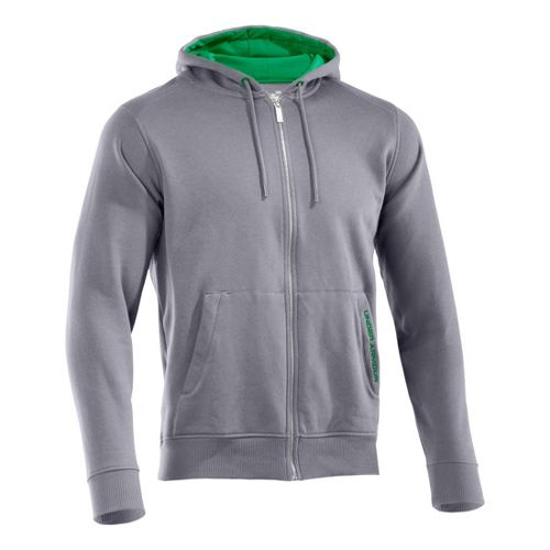 Mens Under Armour Charged Cotton Storm FZ Hoody Warm-Up Hooded Jackets - Aluminum/Astro Green S ...
