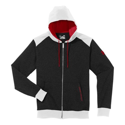 Mens Under Armour Charged Cotton Storm FZ Hoody Warm-Up Hooded Jackets - Asphalt Heather/White ...