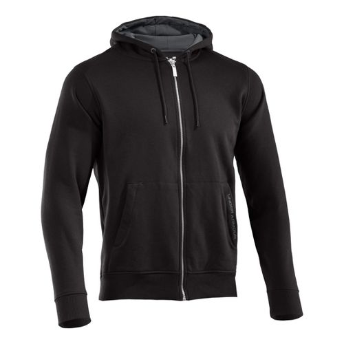 Mens Under Armour Charged Cotton Storm FZ Hoody Warm-Up Hooded Jackets - Black/Graphite XXL