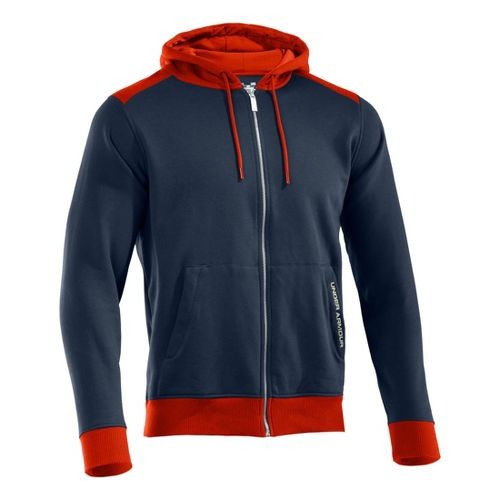 Mens Under Armour Charged Cotton Storm FZ Hoody Warm-Up Hooded Jackets - Cadet/Explosive XXL