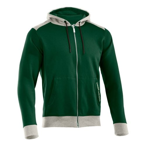 Mens Under Armour Charged Cotton Storm FZ Hoody Warm-Up Hooded Jackets - Forest Green/Oatmeal ...