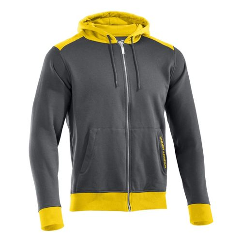 Mens Under Armour Charged Cotton Storm FZ Hoody Warm-Up Hooded Jackets - Graphite/Taxi XXLT