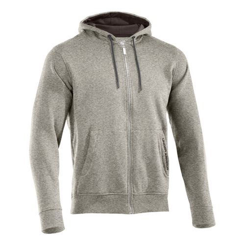 Mens Under Armour Charged Cotton Storm FZ Hoody Warm-Up Hooded Jackets - Oatmeal Heather/Bureau ...