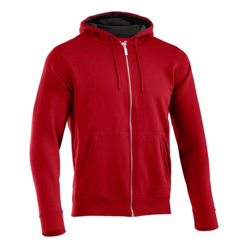 Mens Under Armour Charged Cotton Storm FZ Hoody Warm-Up Hooded Jackets - Red/Black XLT