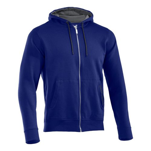 Mens Under Armour Charged Cotton Storm FZ Hoody Warm-Up Hooded Jackets - Royal/Graphite XLT