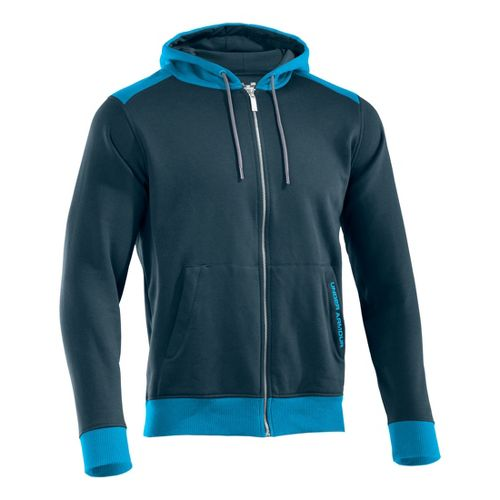 Mens Under Armour Charged Cotton Storm FZ Hoody Warm-Up Hooded Jackets - Wham/Pirate Blue M ...