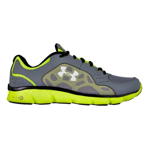 Mens Under Armour Micro G Assert IV Running Shoe - Graphite/Neon 8.5