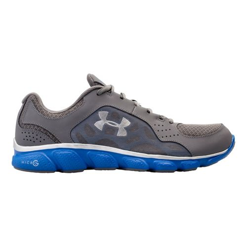 Mens Under Armour Micro G Assert IV Running Shoe - Graphite/Blue 8.5