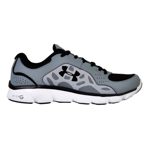 Mens Under Armour Micro G Assert IV Running Shoe - Gravel/Black 12.5